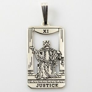 Justice Tarot Card Pendant solid Sterling Silver